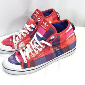 Adidas Plaid Sneakers Pink Red Blue High Top 9